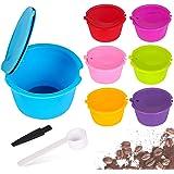 Capsules de café réutilisables rechargeables AUOKER pour le filtre-machine Nescafé Dolce Gusto, paquet de 7 tasses colorées a