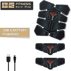 ISUDA EMS Trainingsgerät Bauchmuskeltrainer Training Muskelaufbau Elektrostimulation Fitness Geräte Muskelstimulation Elektrostimulation USB und batteriebetrieben