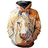 Modello Unisex di Modo 3D con Cappuccio Animale Cavallo Stampato Inverno degli Uomini con Cappuccio Streetwear Tuta