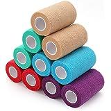 LotFancy zelfklevende bandage dierenarts wrap verschillende kleuren cohesieve bandage wrap voor huisdier, hond, paard, kat -