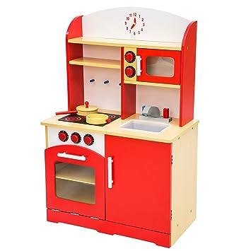 tectake cucina per bambini gioco giocattolo in legno 60x30x91 cm rossa