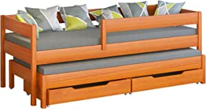 Drawers included 140x70//130x70, White Jula Single bed for kids with trundle