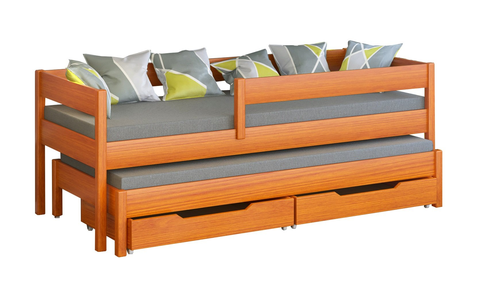 Jula Single bed for kids with trundle. Drawers included (180x80/170x80, Tic) Jula Bed with trundle Legs made of solid wood with a thickness of 45x45 mm You get the external dimension of the bed by adding 7 cm in to the dimension in table Bedframe strength up to 150kg 1