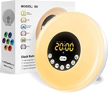 Luce Sveglia da Comodino,Wake up Lampada Sveglia da Comodino con Luce Dell'atmosfera, Sveglia per Bambini,Luce Notturna LED con FM Radio Funzione Snooze