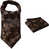 HISDERN Uomo Floreale Paisley jacquard Woven Regalo Ascot Set cravatta
