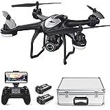 Potensic Drone GPS T18 FPV con Telecamera 120 ° Grandangolo Regolabile HD 1080P Dual GPS Videocamera Seguimi RTH con Telecomando, Due Batterie, Valigetta