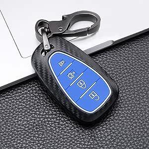 Ontto 4 Taste Autoschlüssel Hülle Cover Für Chevrolet Malibu Camaro Cruze Bolt Equinox Spark Bolt Traverse Schlüsselhülle Schlüsselanhänger Abs Plastik Schlüssel Etui Fernbedienung Schwarz Blau Auto