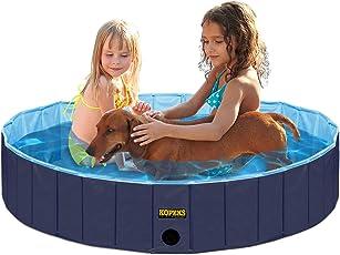 Außenpool Baden Badewanne, Tragbar, Faltbar–Ideal für Kinder Oder Haustiere–80x 20cm–Dunkle und Helle Blau–S–M