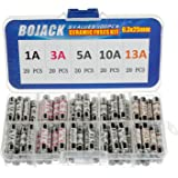 BOJACK 5 värden 100 st 1 3 5 10 13 A amp 240 V volt hushåll nätpluggssäkring 6,3 x 25 mm 0,25 x 1 tum BS1362 keramiska rör pa