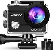 """Crosstour Action Cam Sport Subacquea WiFi Camera 1080P 2""""LCD Full HD 2 Batterie 1050mAh 170°Grandangolare e Kit Accessori per"""