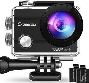 """Crosstour Action Cam, Sport WiFi Camera 14MP 2""""LCD Full HD Impermeabile 2 Batterie 1050mAh 170°Grandangolare e Kit Accessori per Ciclismo Nuoto e Altri Sport Esterni"""