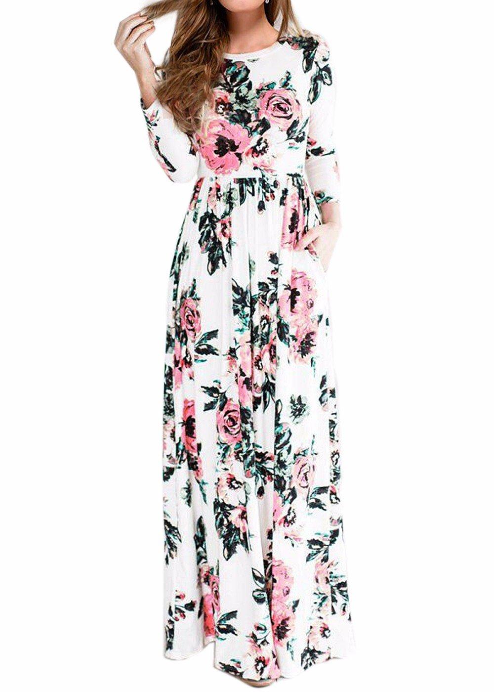 Las Mujeres de impresión Floral de Manga Larga Boho Vestido de Damas de Noche Party Maxi Vestido Largo