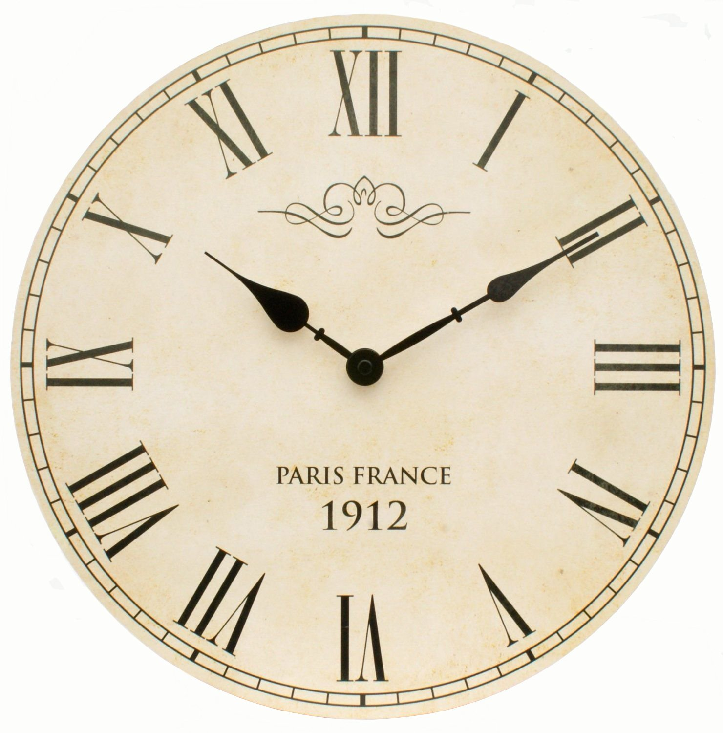 Large Shabby Chic Vintage Style Wall Clock With Roman Numerals In