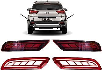 PR Car Reflector Led Brake Light for Bumper(Rear/Back) Drl Latest Design For Hyundai Creta 2018- Set of 2 Pcs with wiring