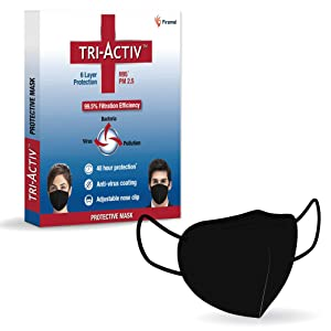Tri-Activ 6 Layer Protective Mask, PM2.5 Tested as per NIOSH standard, 99.5% Filtration Efficiency, Adjustable Nose Clip