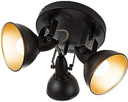 Briloner Leuchten Lampe plafonnier avec 3 spots pivotants et orientables dans un design rétro vintage – Douilles E14, 40w max