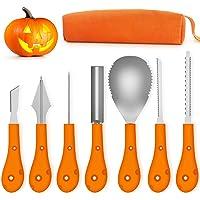 T98 Halloween Kürbis Schnitzset, 7 Stück Kürbis Schnitzen Set DIY Halloween Dekoration Edelstahl Kürbis Schnitzwerkzeuge…