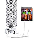 Crystal USB Bedside Lamp, Aooshine Bedside Table Lamp with Dual USB Charging Port, Elegant Modern Bedroom Lamp, Crystal Table