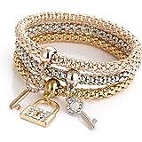 Outflower Fashion Key Lock Diamond Corn Braccialetto a Catena Grossa Bracciale Donna a Tre Pezzi Gioielli da Donna Accessori