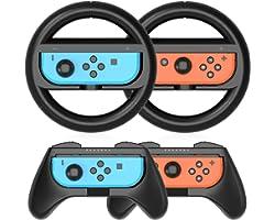 HEYSTOP Volants Switch Grip Compatible avec Nintendo Switch et Switch OLED Grip Manette, Poignées Grip Switch pour Mario Kart