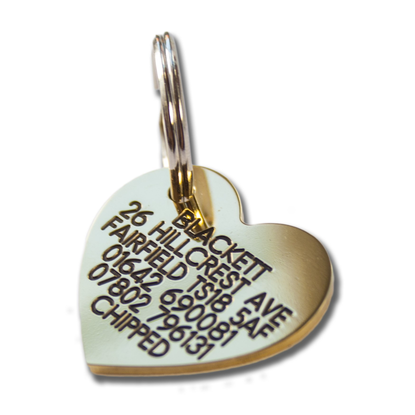 Deeply engraved solid brass heart shaped dog tag
