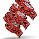 Pakketband Voorzichtig glas breekbaar 5 cm x 66 m in rood (72 rollen) - Voorzichtig glas pakkettape extra sterk - meertalig p