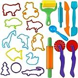 Utensili per Plastilina, 20 Colorati Accessori e Utensili a Forme di Animali Strumenti, Plastica Argilla e Pasta Modelli e St