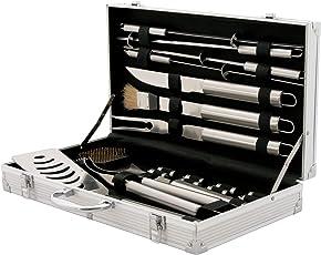 CAMPFEUER Edelstahl Grillbesteck Set, mit Aluminiumkoffer, Barbeque Grillkoffer, BBQ Besteckset ideal zum Grillen, mit Grillgabel, Grillzange, Bratenwender und mehr