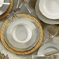Kütahya Porselen Bone İlay 6 Kişilik 24 Parça Yemek Takımı Yaldızlı