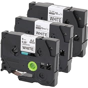 2x Schriftbandkassette f/ür Brother TZe-221 9mm und TZe-231 12mm schwarz auf wei/ß 8m lang laminiert kompatibel zu TZe-221 und TZe-231