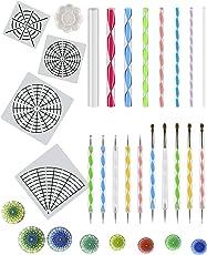 ANPHSIN 23 Stück Mandala Dotting Tools Kits, Mandala Dotting Stencils, Mandala Punktierung Werkzeuge inkl. Mandala Dotting Schablone, Doppelseitige Punktierwerkzeuge, Acrylstäben und Farbtablett für Steinmalerei, Kinder-Handwerk, Nail-Art