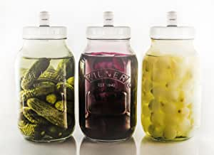 3 Kilner 1 Litre Food Fermentation Jars with Sterilock® Airlocks Releasing CO2 Whilst preventing Bacteria from Getting in.