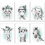 artpin® 6er Set Bilder Kinderzimmer Jungen Mädchen in Mint Grau Feder - Poster Wald Dschungel Babyzimmer Indianer Tiere…