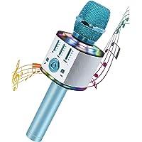 Microfono Karaoke, 5 in 1 Bluetooth Microfono Bambini con Luci LED Multicolore per Cantare, Wireless Portatile Karaoke…