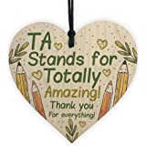 RED OCEAN Thank You Gift For Teacher Teaching Assistant Wooden Heart Plaque End Of Term Leaving School Gifts