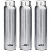 MILTON Aqua 1000 Stainless Steel Water Bottle, 930ml, Set of 3, Silver