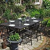 Lazy Susan - SOPHIA 200 x 120 cm Rechteckiger Gartentisch mit 6 Stühlen - Gartenmöbel Set aus Metall, Antik Bronze (MARY Stühle)