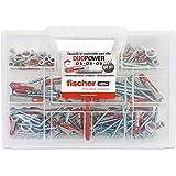 Fischer Kit fixtainer, 80tacos universales con tornillo, para montaje sobre pared Pieno, ladrillo perforado, yeso y hormigón