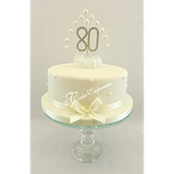 CAKE TOPPER PEARL BURST DECORATION SPRAY DIAMANTE 80th BIRTHDAY IVORY PEARLS