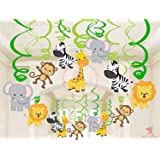 party propz safari animal jungle ceiling hanging swirl decorations boy and girl baby shower cutout festive party supplies dec
