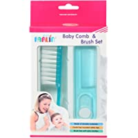 Farlin Doctor J. Baby Hair Comb and Brush Set with Soft Bristles and Rounded Tips for Baby's Tender Scalp (Blue)