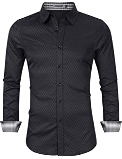 X-Future Men Long Sleeve Slim Fit Button Down Cotton Solid Casual Shirt