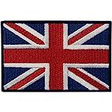 Britannico Union Jack Bandiera della Inghilterra Emblema con Fissaggio Chiusura a uncino e asola Ricamata Toppa
