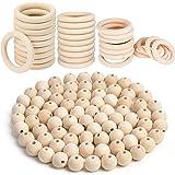 Lot de 70 perles en bois macramé - 32 anneaux en bois naturel - Ronds - Pour bricoler, boules en bois - Pendentifs - Kit pour