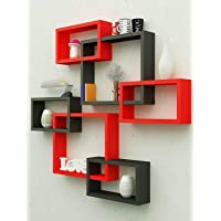 Amaze Shoppee MDF Wall Decoration Intersecting Floating Shelves (Black and Red) -Set of 6
