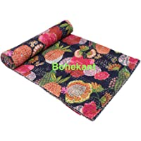 """BOHEKANT Hand Made Cotton Fruit Print Indian Kantha Quilt Bed Spread Blanket Throw Indian Queen Size Coverlet Size 90"""" X…"""