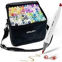 120 Colour Alcohol Art Markers Set, Ohuhu Dual Tip, Brush & Chisel, Sketch Marker, Alcohol-Based Brush Markers Bonus 1…