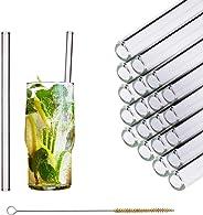 HALM Glas Strohhalme Wiederverwendbar Trinkhalm - 20 Stück gerade 20 cm + plastikfreie Reinigungsbürste - Spülmaschinenfest -