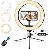 Emuni Anillo de luz: Anillo de luz LED 10 Pulgadas con trípode y Soporte para teléfono, Anillo de luz para Selfies, Maquillaj