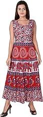 Jaipuri Fashionista Cotton Women's Maxi Long Dress Jaipuri Printed (Free Size Upto 44-XXL)